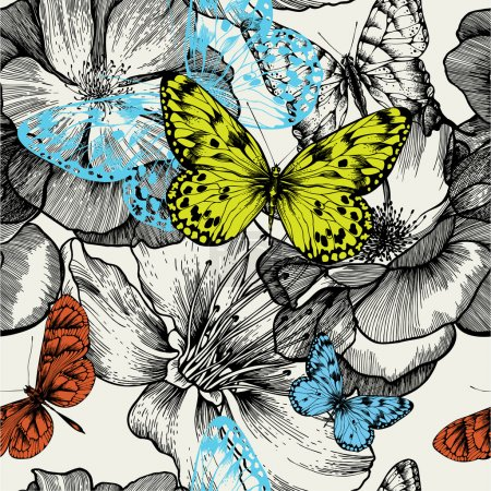 Seamless pattern with blooming roses and flying butterflies