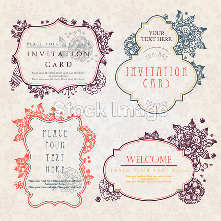 Invitation cards with a floral pattern